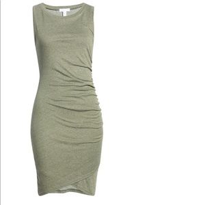 LEITH 1X ruched body con dress teal green